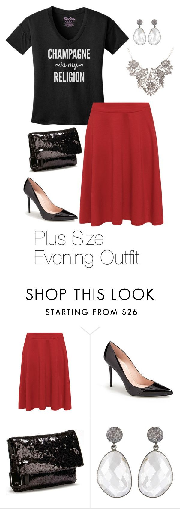 """""""Plus Size Evening Outfit"""" by elsajanedotcom on Polyvore featuring WearAll, Stuart Weitzman, UGG Australia and plussize"""