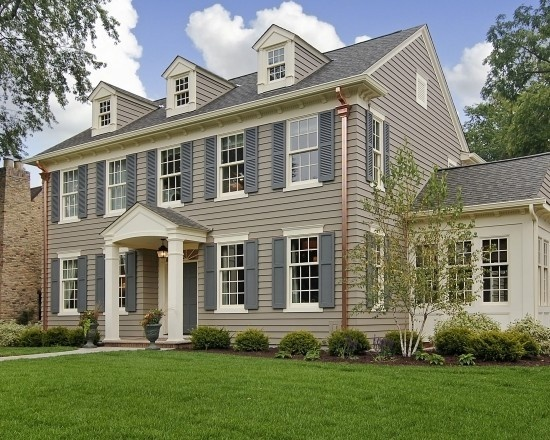 Traditional exterior design dormers front portico copper gutters and sunroom dream homes - Elegant colonial architectural designs ...