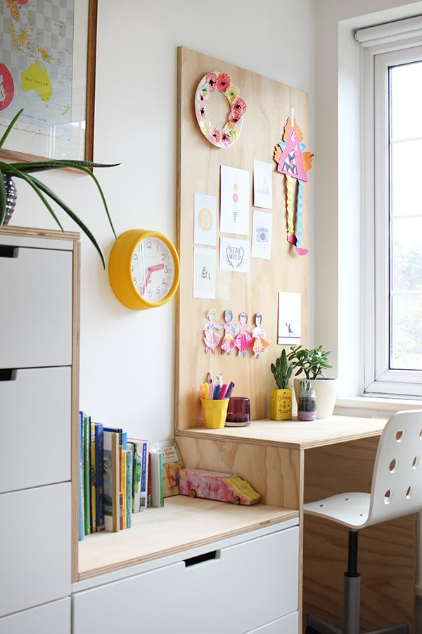 Love this stylishly simple plywood desk for a child's bedroom.