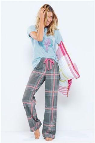 Check Pyjamas With Air Balloon Print T-Shirt from Next