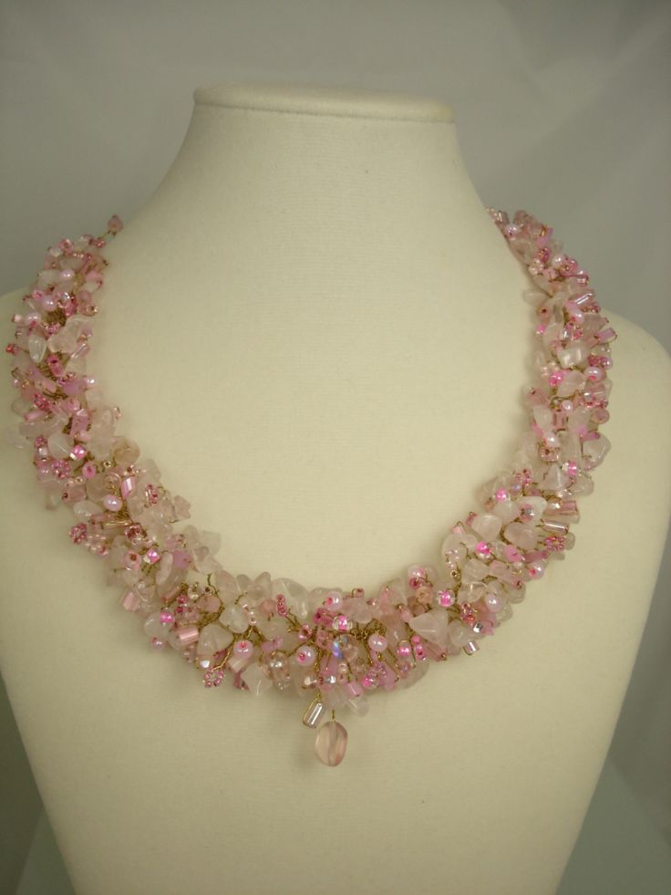 Rose Quartz and freshwater pearl beaded cluster necklace, glass beads,gold plate,matching earrings,unique,handmade,gift, stunning, statement by VignettesByCherie on Etsy https://www.etsy.com/listing/39007014/rose-quartz-and-freshwater-pearl-beaded