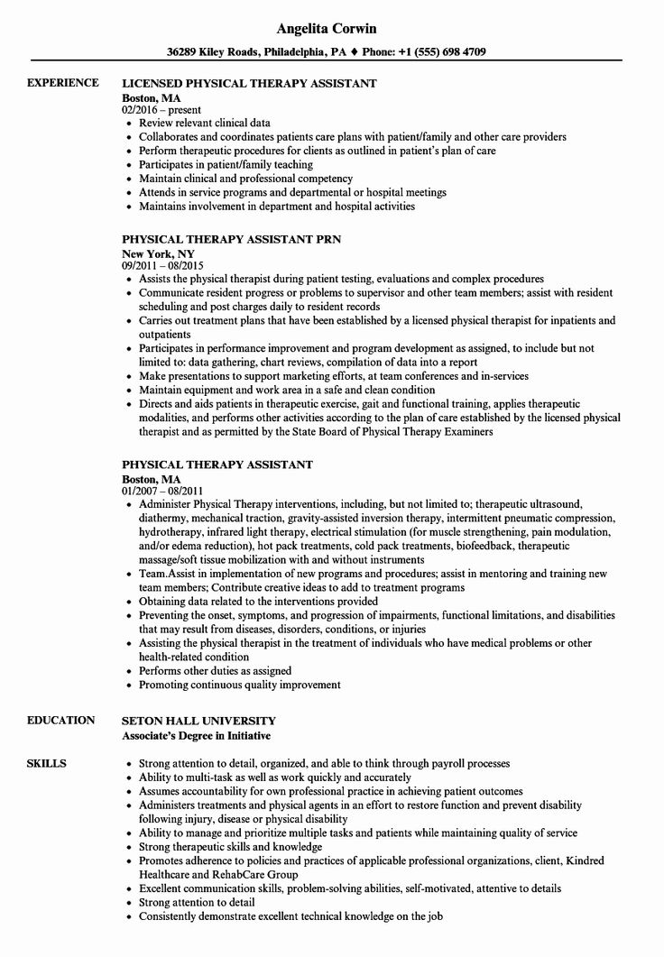 Occupational therapy Resume Examples Fresh Physical