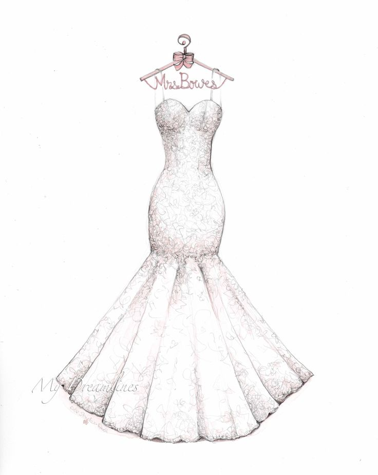 Lace mermaid wedding dress sketch with decorative hanger by Catie Stricker-Howell