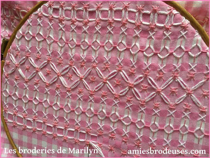 Broderie Suisse vichy rose