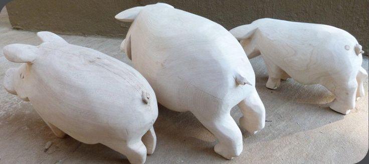 Hand carved wooden pig   Maneki