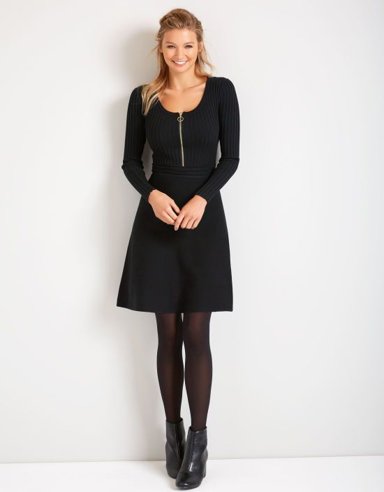 Zip Front Knitted Dress in Black by Bravissimo Clothing