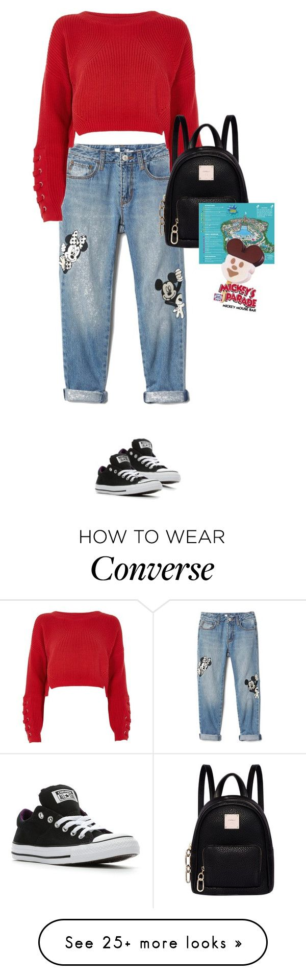 """Walt Disney World"" by mimas-style on Polyvore featuring Disney, River Island, Fiorelli and Converse"