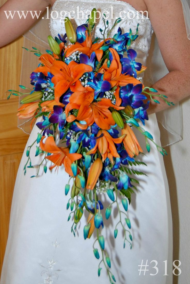 Orange Lilies And Blue Orchid Cascade Bouquet From Gatlinburg S Little Log Wedding Chapel At Www