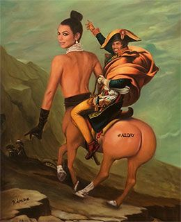 """#ALL DAY #BREAKTHEINTERNET #KIMYE   This 41*51cm masterpiece will make the perfect gift for anyone who wants to be able to say, """"I have a painting of Kanye West riding Kim Kardashian on my wall."""" Help support two legends on an epic cross continental adventure from London to Hong Kong as well as prostate cancer research."""