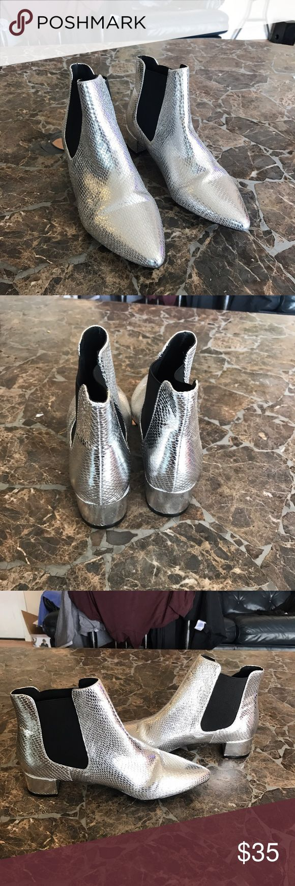 Topshop silver ankle boots NWOT ❗️✔️ In perfect condition never been worn topshop boots Topshop Shoes Ankle Boots & Booties