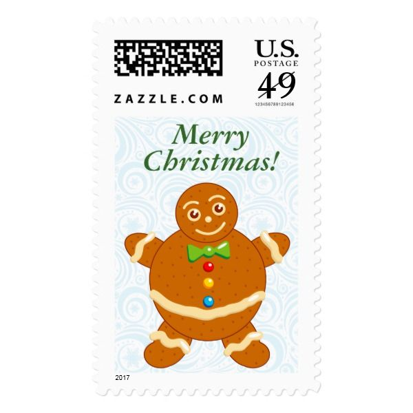 Fun modern cartoon of a Gingerbread man cookie Postage #christmas #postage #stamps