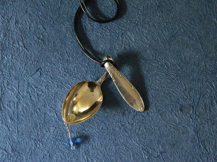 Necklace with old spoon and blue Swarovski. Ecological handmade creations http://melylefay.wix.com/avaloncreations