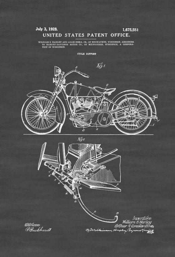 Harley Davidson Patent Print