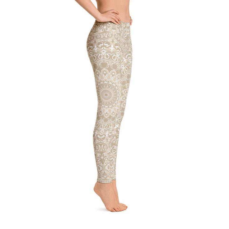 Khaki Leggings, Cream Leggings, Champaign Beige Leggings for Women, Yoga Pants Printed