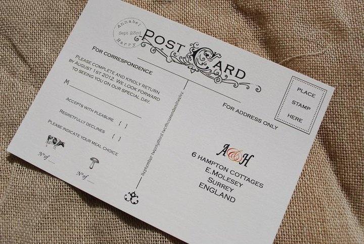 Vintage postcard inspired RSVP wedding stationary design by Kingston Lafferty Design