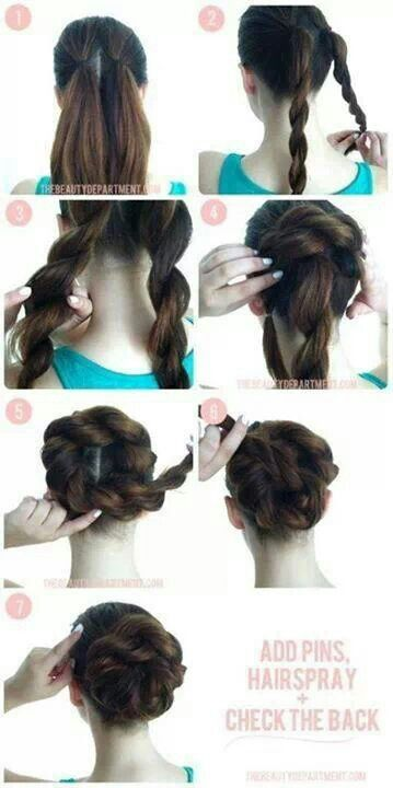 Easy Braid Bun!!! To Cute!
