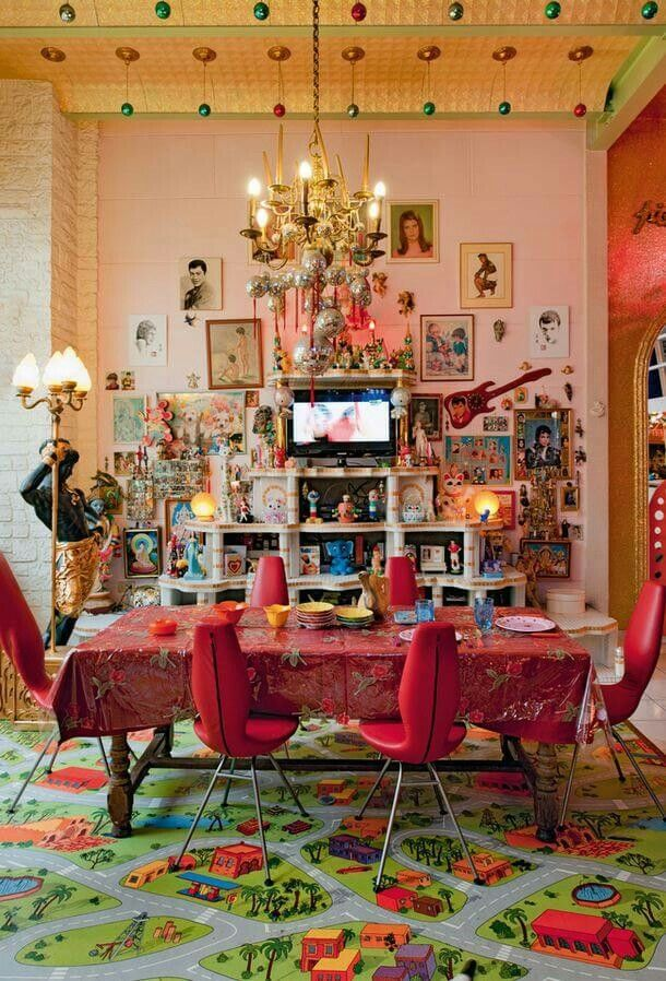 Pink Dining Room In The Home Of Artists/photographers Pierre Commoy And  Gilles Blanchard In Pre Saint Gervais, France   Photography By Gilles De  Laubier