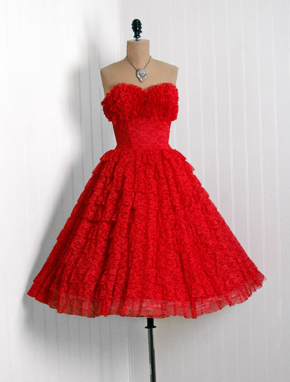 1950s red lace prom dress ~firecracker~