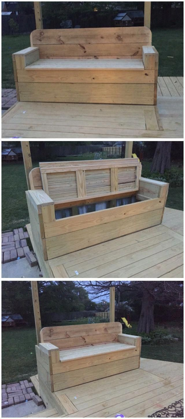Outdoor Bench Ideas Made With Recycled Wooden Pallets Pallet Furniture Pallet Outdoor Project Outdoor Storage Bench Diy Bench Outdoor Diy Outdoor Furniture