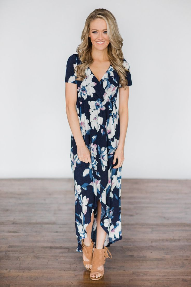 BayDream Believer ~ Navy Floral Maxi Dress – The Pulse Boutique