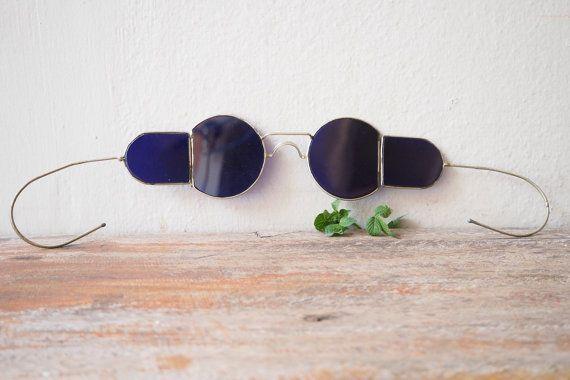 Vintage Sunglasses Old Welding Glasses With Cobalt Blue Lens 1930's