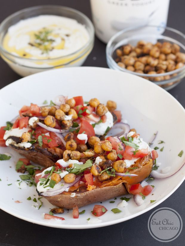 Tzatziki Smothered Sweet Potatoes w/ Crunchy Chickpeas: these unique tzatziki smothered sweet potatoes feature Mediterranean flavors atop a traditional baked potato | Recipe is gluten-free + vegetarian.