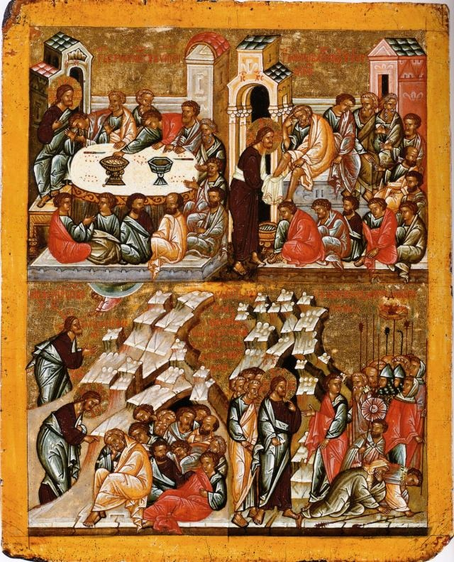 On the Thursday before Easter, called Holy or Maundy Thursday, four events are remembered: the Last Supper, the Foot-Washing of the Apostles by Jesus, the prayer of Christ in Gethsemane, and the Arrest of Jesus.  Each of these events can be found in icons, and especially on church walls as part of the iconostasis, but the 15th Century Russian icon here groups the four events together.