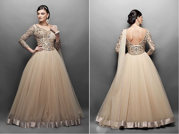 Floor-length anarkali, I would love this except not in neutral cuz that wouldn't look good on me