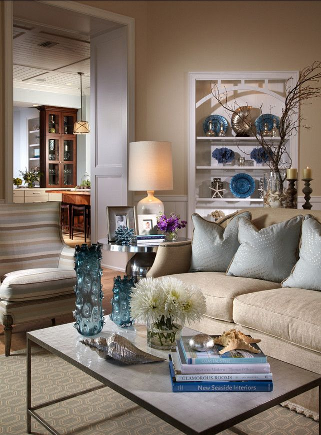 Family Room Coastal Theme Design Ideas, Pictures, Remodel And Decor