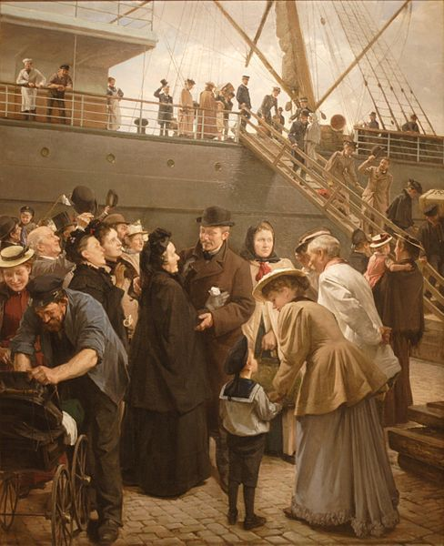 ...and some came home again to Scandinavia... Edvard Petersen (1841–1911): 'A Homecoming - The America steamer at Larsen Plads, Copenhagen'