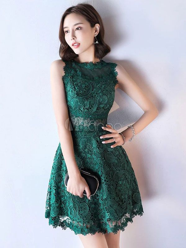 675b513a237 Lace Mother Dress Dark Green Cocktail Dress Illusion Waist A Line Short  Party Dress - Milanoo.com