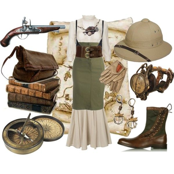 Steampunk Explorer by cherrygoodday on Polyvore featuring Warehouse, Wet Seal, Debenhams, Jérôme Dreyfuss, ASOS, Forever 21, J. Peterman and steampunk