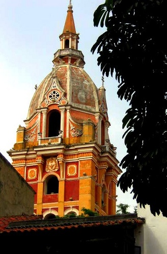 Vibrant colors of cathedral in Cartagena, Colombia