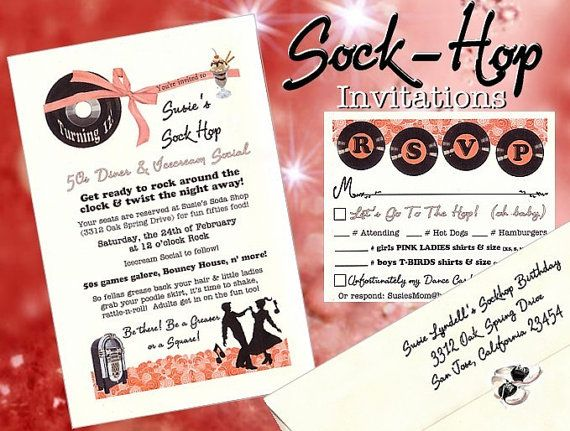 The GREATEST Sock Hop invitations on the market, and so affordable!