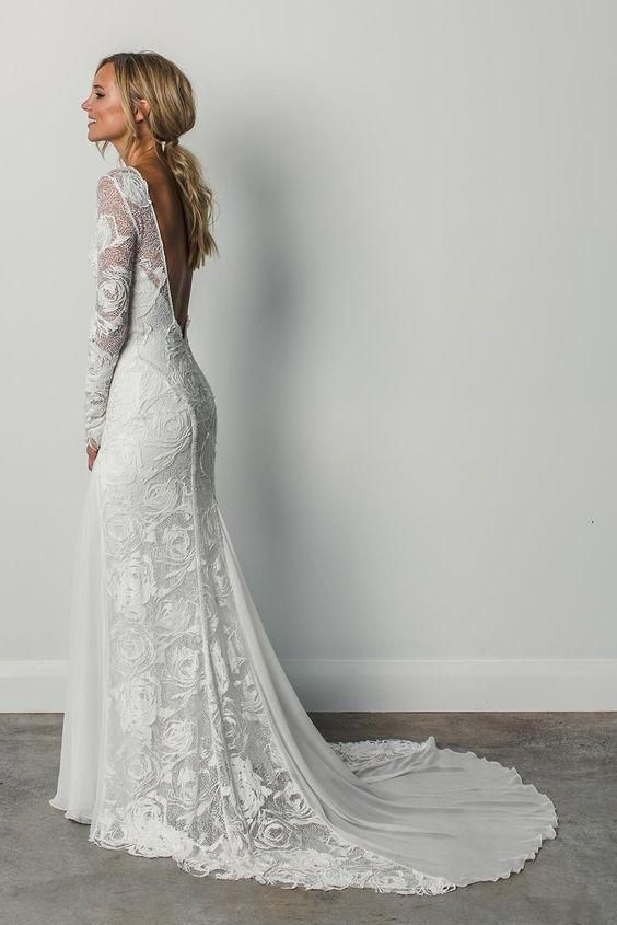 Sheath A Line Long Sleeves Ivory Rustic Lace Backless Scoop Neck Beach Wedding D…
