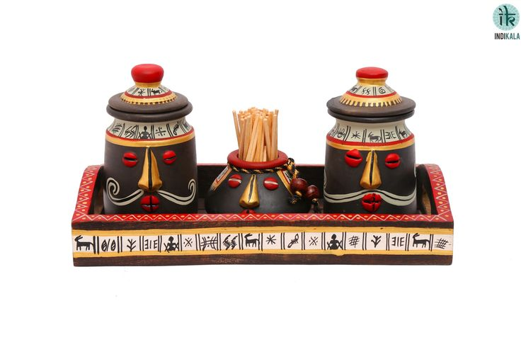 Ethnic terracotta salt and pepper shaker handpainted in Warli art work, to add beauty of your table decor. Earthern toothpick holder adds a contrasting functional variety. Tray is also adorned with classy hand painted art work.