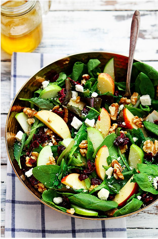 Apple, Cranberry Walnut Salad with Homemade Vinaigrette #christmas #dinner #recipe #easy #healthy #recipes
