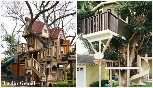 Мечта детства. Домик на дереве.  Многие в детстве мечтали иметь  домик на дереве, наверняка эта  мечта так и не осуществилась.   Оригинальный дизайн домика на  дереве можно воплотить на любом  дачном участке.