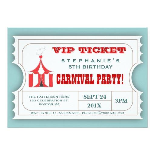 Zirkus Karnevals Party Karten Aufnahme Einladung 12,7 X 17