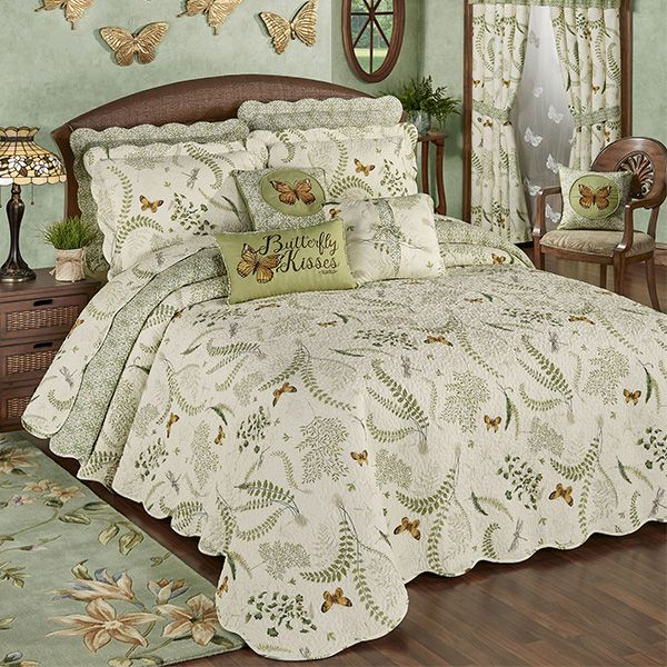 Butterfly Eden Reversible Quilted Oversized Bedspread Bedding Bed Spreads Decorate Your Room Bedding Accessories