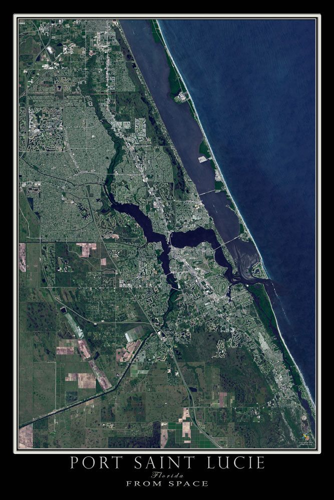 Port Saint Lucie Florida Satellite Poster Map