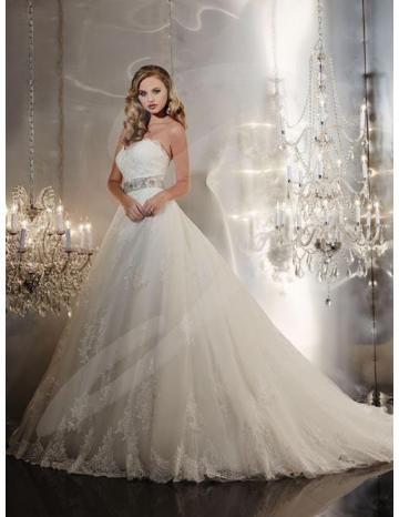 Stile Principessa Coda a Strascico Cappella Glamour Naturale Tulle Applique Abiti Da Sposa 2015
