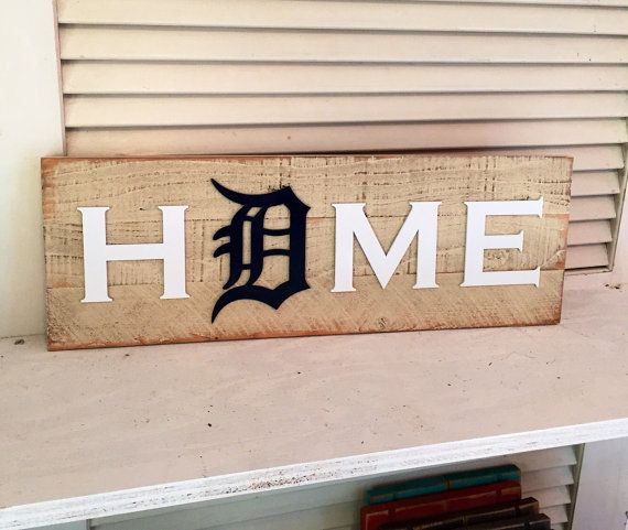 Old English D Detroit Tigers HOME plaque by KDCobbleShop on Etsy