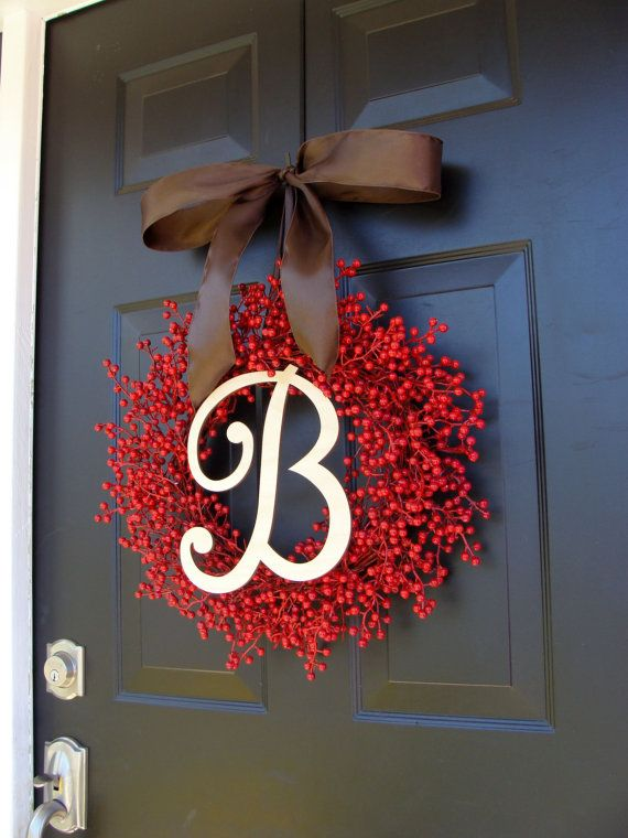 Berry Monogram Wreath Fall Wreath Berry Wreath by ElegantWreath
