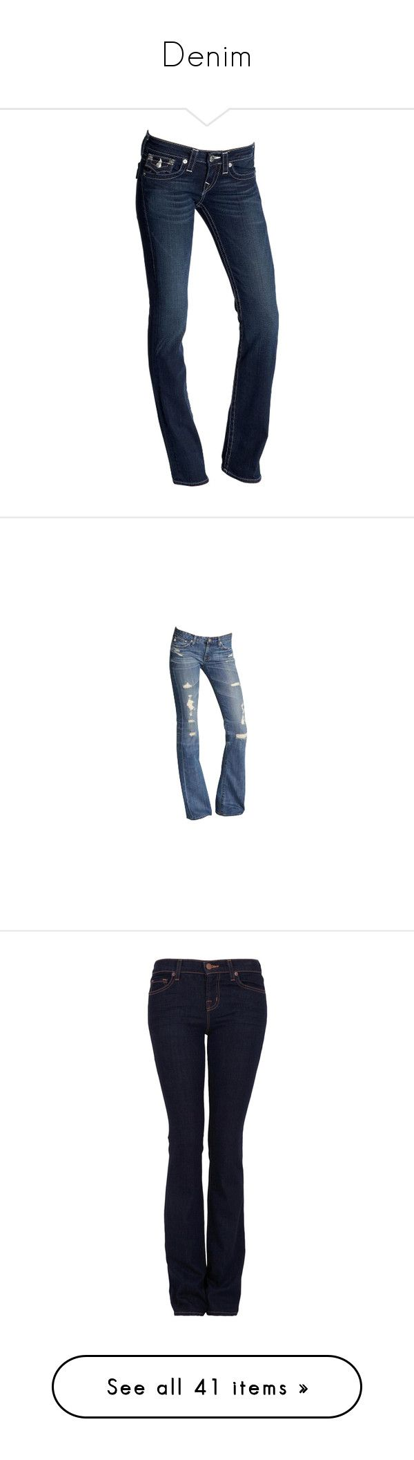 """""""Denim"""" by bethanito ❤ liked on Polyvore featuring jeans, pants, bottoms, calças, denim, back flap pocket jeans, low rise jeans, faded jeans, true religion jeans and dark wash straight leg jeans"""