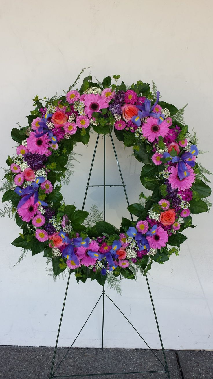 44 best funeral flowers images on pinterest funeral flowers stunning open funeral wreath of iris pink gerberas matsomoto aster rice flower dhlflorist Image collections