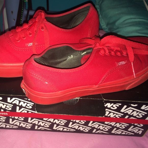 All Red Vans ! Good Condition.  6.5(y) 8 womens Vans Shoes Sneakers