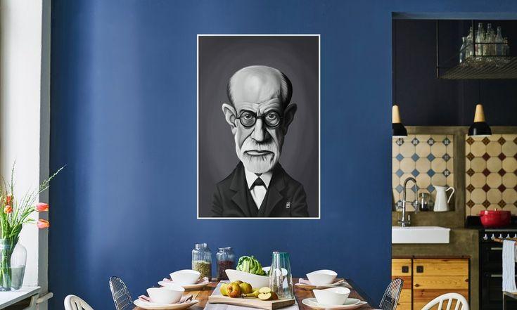 Sigmund Freud as Premium Poster by Rob Snow | Creative | JUNIQE art | decor | wall art | inspiration | caricature | home decor | idea | humor | gifts