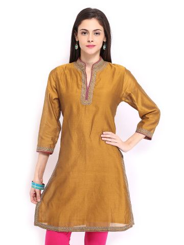 Fabindia Women Mustard Brown Chanderi Kurta