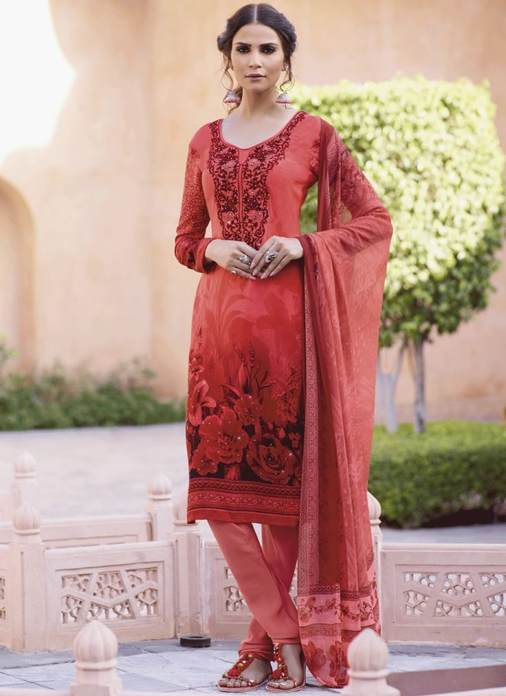 Buy latest salwar kameez designs and designer salwar suits online. Grab this faux crepe print work churidar suit.